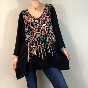 Johnny Was  - Floral Embroidery Oversized Tunic